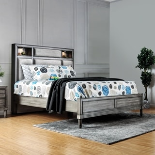 Braysen Transitional Queen Grey Bookcase Headboard Bed by FOA