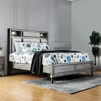 Furniture of America Braysen Transitional Bookcase Headboard Grey Queen-size Bed