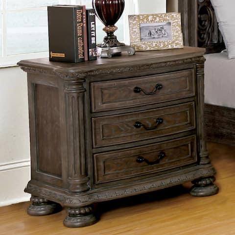 Furniture of America Brey Traditional Brown Solid Wood Nightstand