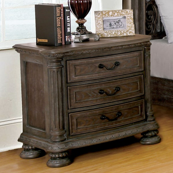 Furniture of America Brey Traditional Brown Solid Wood Nightstand. Opens flyout.