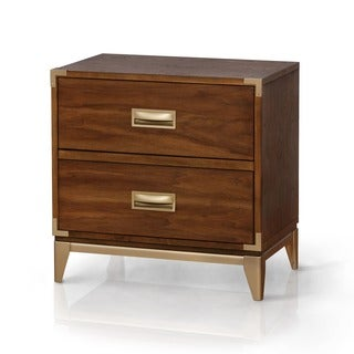 Furniture of America Tamelia Dark Oak Gold Accented 3-drawer Nightstand