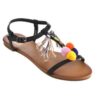 Betani FH95 Women's Faux Leather Ankle Strap Pompom Tassels Summer Flat Sandals