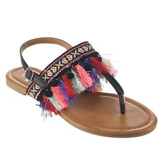Betani FH93 Women's Thong-style Fringes Boho Slingback Flat Sandals