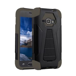 Insten Black/ Gray Hard PC/ Silicone Dual Layer Hybrid Case Cover with Stand For Samsung Galaxy E5