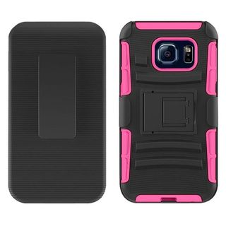 Insten Black/ Hot Pink Hard PC/ Silicone Dual Layer Hybrid Case Cover with Holster For Samsung Galaxy S7