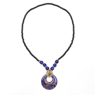 Liliana Bella Gold Plated Fashion Necklace with Blue Murano and Glass Beads