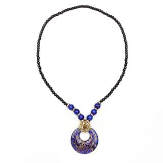 Liliana Bella Gold Plated Fashion Necklace with Blue and Glass Beads