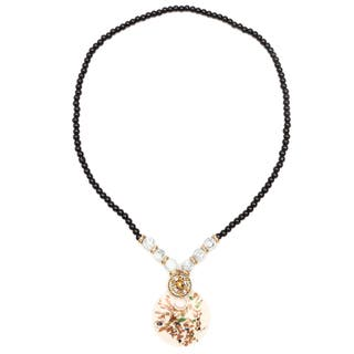 Liliana Bella Gold-plated White Murano and Grey Glass Beaded Necklace|https://ak1.ostkcdn.com/images/products/14539690/P21091739.jpg?impolicy=medium