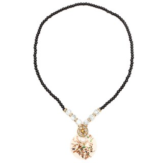 Liliana Bella Gold-plated White and Grey Glass Beaded Necklace