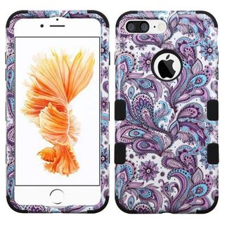 Insten Purple/ White European Flowers Tuff Hard PC/ Silicone Dual Layer Hybrid Case Cover For Apple iPhone 7 Plus