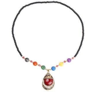 Liliana Bella Oxidised Gold Plated Fashion Necklace with Maroon Murano and Multicolour Glass Beads