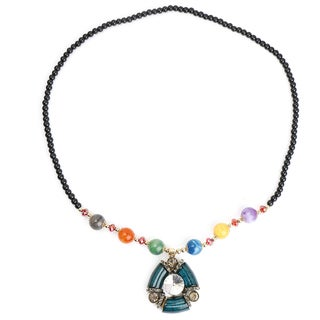 Liliana Bella Oxidized Gold-plated Green Murano/Multicolored Glass Bead Fashion Necklace
