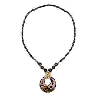 Liliana Bella Gold Plated Fashion Necklace with Black and Glass Beads