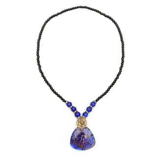 Liliana Bella Gold-plated Blue Murano and Glass Bead Fashion Necklace