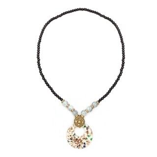 Liliana Bella Gold-plated White Murano and Glass Bead Fashion Necklace