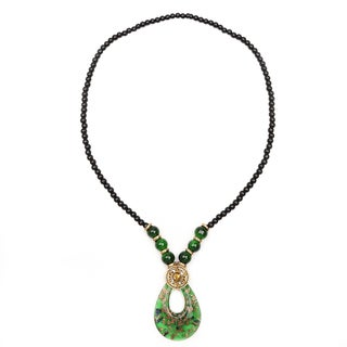 Liliana Bella Green Glass Beads Goldplated Fashion Necklace