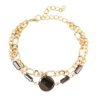 Liliana Bella Gold-plated Black Glass Stone 2-strand Fashion Bracelet