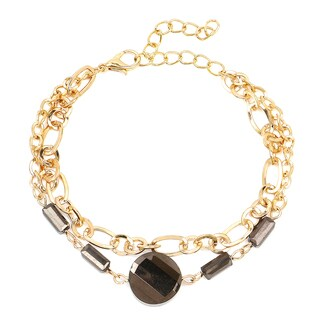 Liliana Bella Gold-plated Black Glass Stone 2-strand Fashion Bracelet