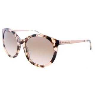 Michael Kors MK 2034 320513 Island Tropics Pink Tortoise Plastic Round Sunglasses Brown Peach Gradient Lens