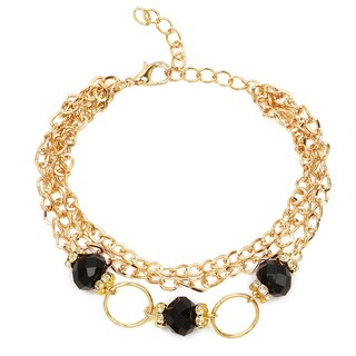 Liliana Bella Women's Goldplated 3-strand Bracelet with Black and White Glass Stone