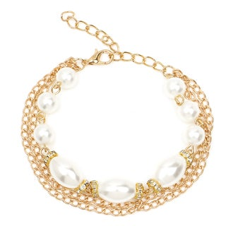 Liliana Bella Goldplated 3-strand Bracelet with White Pearl and Glass Stone