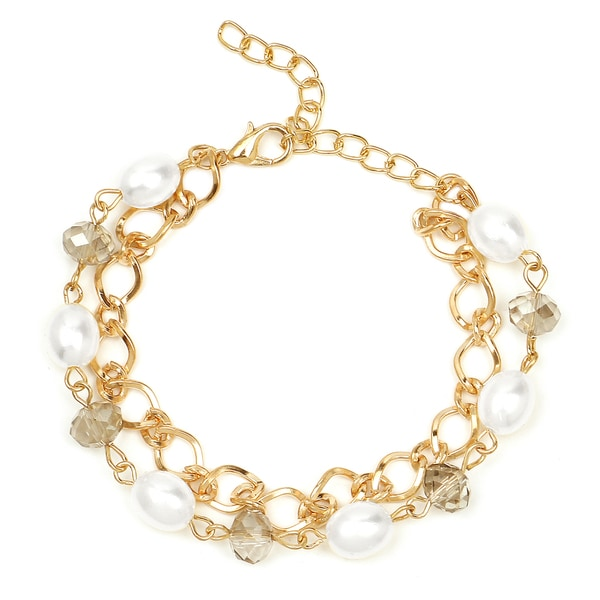 Shop Liliana Bella Goldplated White Pearl and Glass Stone 2