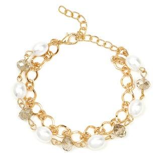 Liliana Bella Goldplated White Pearl and Glass Stone 2-strand Fashion Bracelet