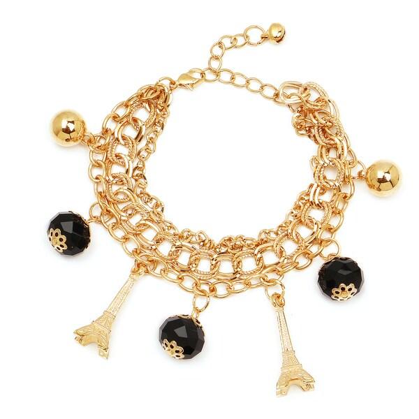 Liliana Bella Women S Goldplated Eiffel Tower Charm Bracelet With Black Gl Stone