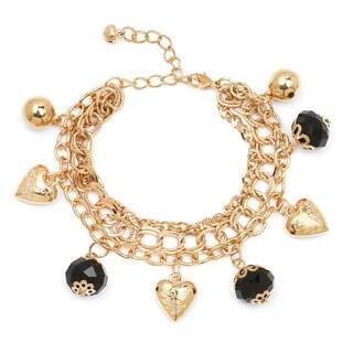 Liliana Bella Women's Goldplated Heart Charm Bracelet with Black Beads