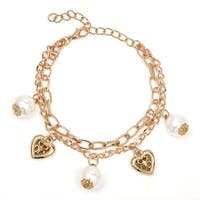 Liliana Bella Gold-pated White Faux Pearl Heart Charm Bracelet