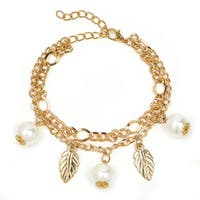 Liliana Bella Goldplated 2-strand Leaf Charm Bracelet with White Pearl