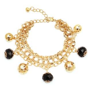 Liliana Bella Gold-plated Black Glass Stone Link Charm Bracelet