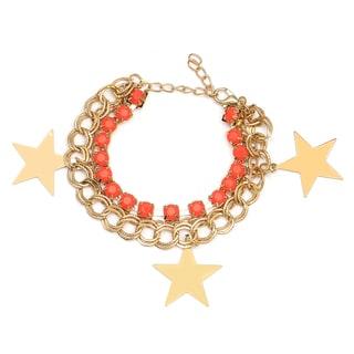 Liliana Bella Gold-plated and Orange Glass Stone Star Charm Bracelet
