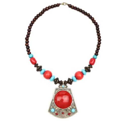 Liliana Bella Gold-plated Brown/Red Wooden Bead and Glass Stone Necklace