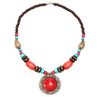 Liliana Bella Oxidised Gold-plated Tri-color Wooden Beaded Glass Stone Necklace