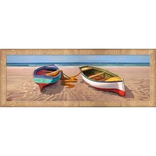 Adriano Galasso 'Barche sulla Battigia II' Framed Canvas Art