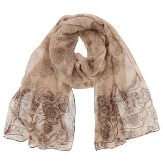 LA77 Women's Floral Polyester Long Soft Scarf Shawl (Option: Khaki)