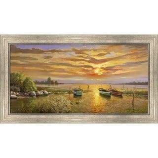 Adriano Galasso 'Laguna al tramonto' Framed Canvas Art