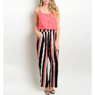 JED Women's Printed Multicolor Elastic Waist Jumpsuit with Relaxed Straight Leg