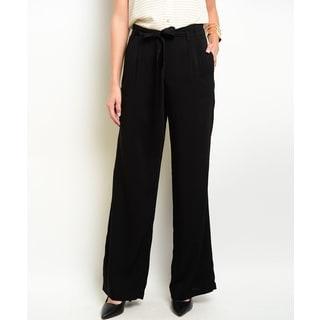 Jed Women's Black Rayon Wide-leg Waist-tie Trousers
