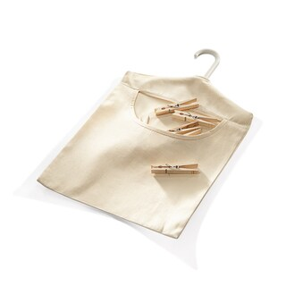 HOMZ Tan Cotton Hanging Clothespin Bag