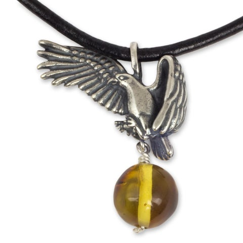 Handmade Men's Amber Pendant Necklace, 'Sacred Eagle' (Mexico)