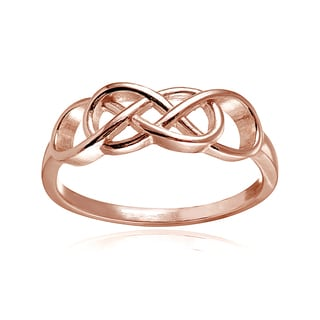 Mondevio 18k Rose Gold over Silver High Polished Interwine Infinity Ring