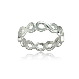 Mondevio Sterling Silver High Polished Infinity Eternity Band Ring