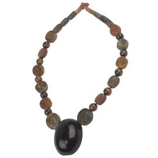Tiger's Eye Beaded Necklace, 'Ahemaa Tumi' (Ghana)