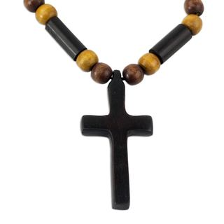 Handmade Ebony and Bamboo Pendant Necklace, 'African Cross' (Ghana)