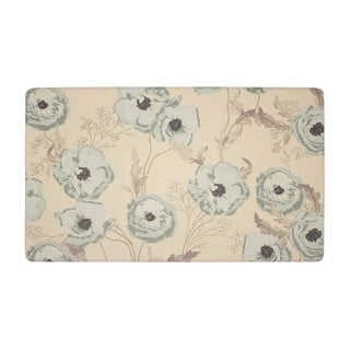Laura Ashley Poppy Meadow Primrose Anti-fatigue Gelness Duck Egg Kitchen Mat (20 in. x 32 in.)