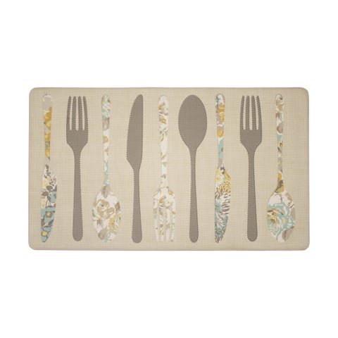 Laura Ashley Hereford Silverware Anti-Fatigue Gelness Duck Egg Kitchen Mat - 20 x 32 in.