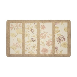 Laura Ashley Flower Seeds Anti Fatigue Gelness Coral Kitchen Mat (20 In. X