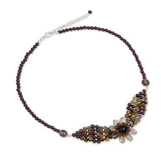 Handmade Garnet and Smoky Quartz Pendant Necklace, 'Floral Solitaire' (Thailand)